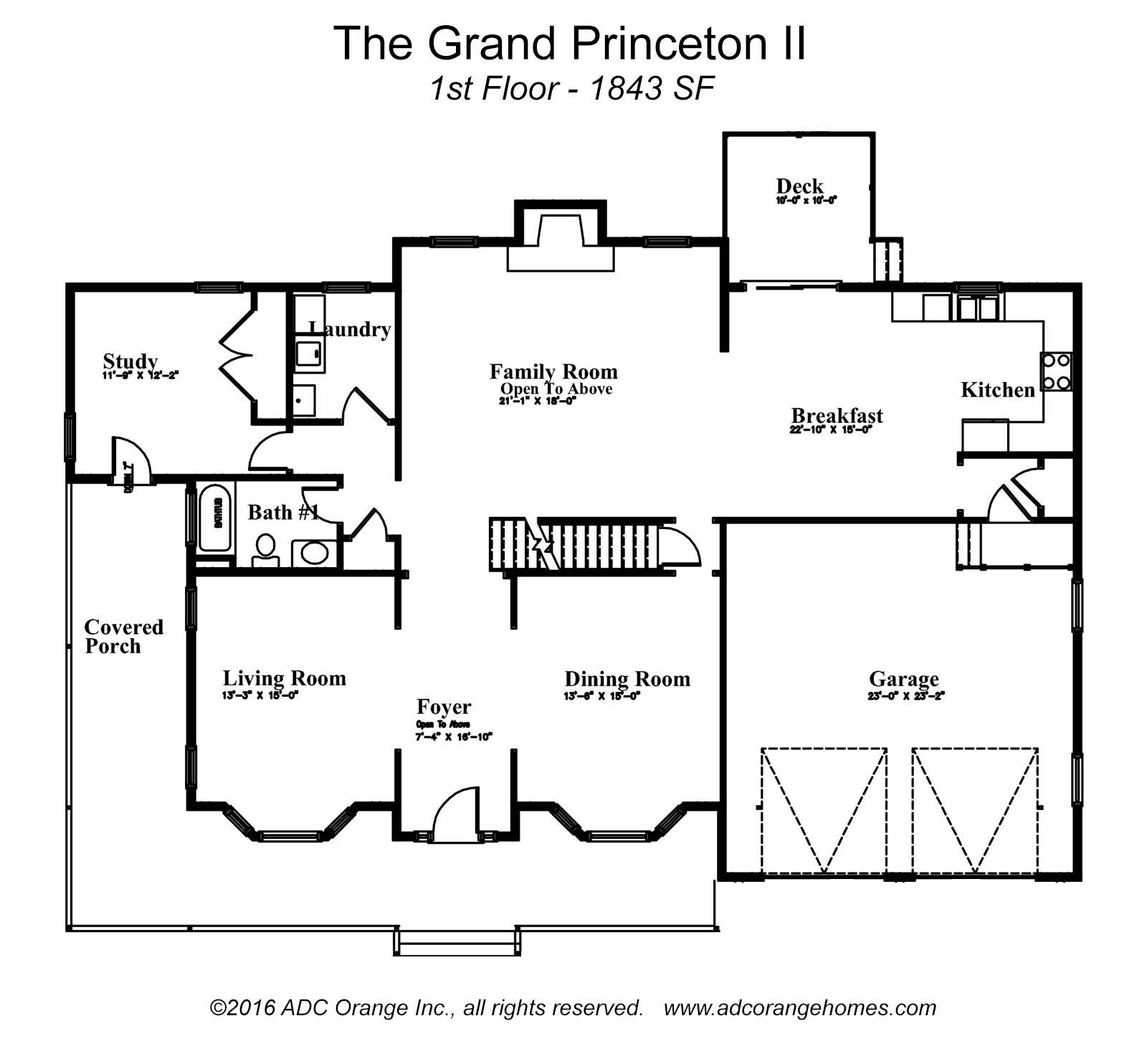 1st Floor Plan for Grand Princeton II - New Home in Orange County, New York