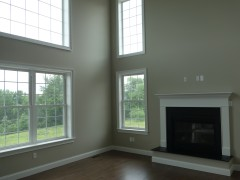 Two story family room with lots of light