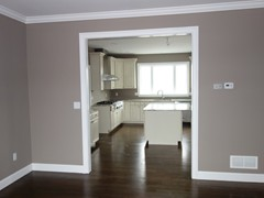 View from formal dining room to kitchen