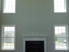 View of back wall in family room