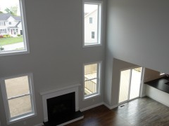 View of family room from second floor gallery
