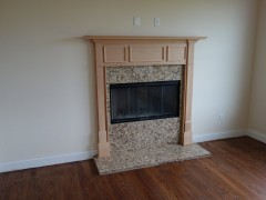 Wood burning fireplace in family room